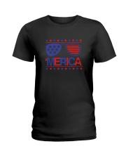 American Flag Sunglasses T-Shirt Ladies T-Shirt thumbnail