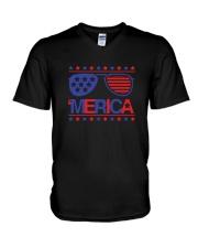 American Flag Sunglasses T-Shirt V-Neck T-Shirt thumbnail