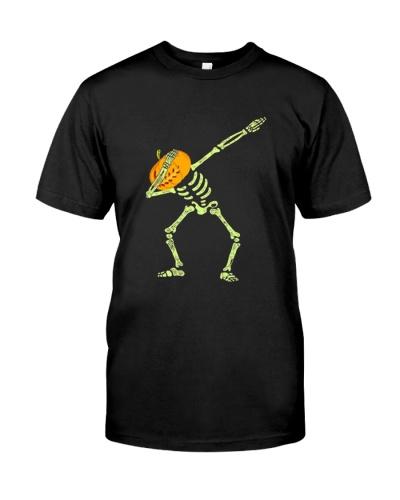 Funny Pumpkin Halloween Dabbing Skeleton T-Shirt