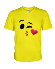 Halloween Emoji Kiss Shirt V-Neck T-Shirt thumbnail