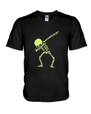 Dabbing Skeleton Halloween  Dab Hip Hop T-Shirt V-Neck T-Shirt thumbnail
