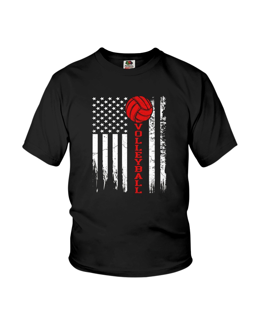 Volleyball American Flag T Shirt Youth T-Shirt