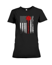 Volleyball American Flag T Shirt Premium Fit Ladies Tee thumbnail