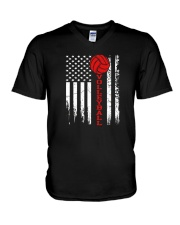 Volleyball American Flag T Shirt V-Neck T-Shirt thumbnail