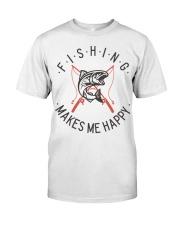 Fishing Makes Me Happy Vintage Style  Classic T-Shirt thumbnail