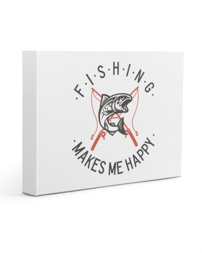 Fishing Makes Me Happy Vintage Style