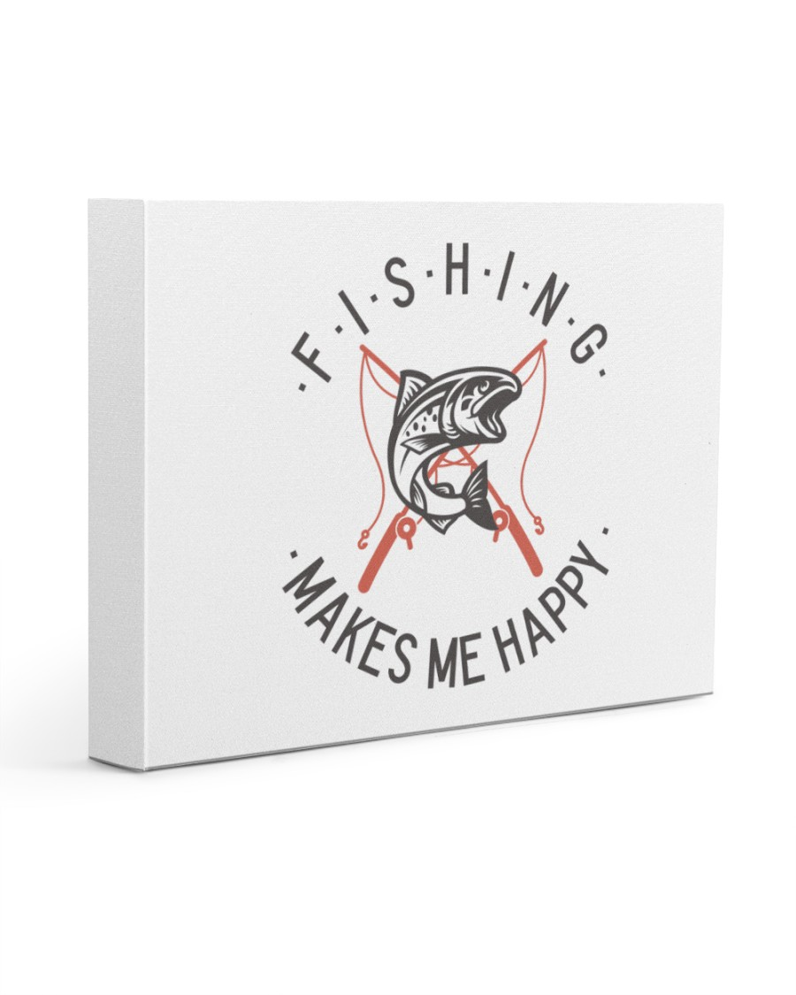 Fishing Makes Me Happy Vintage Style  14x11 Gallery Wrapped Canvas Prints