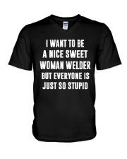 NICE SWEET WOMAN WELDER V-Neck T-Shirt thumbnail