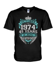 Birthday Gift October 1974 V-Neck T-Shirt thumbnail