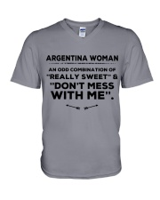 DON'T MESS WITH ARGENTINA WOMEN   V-Neck T-Shirt thumbnail