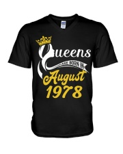 QUEENS ARE BORN IN AUGUST 1978 V-Neck T-Shirt thumbnail