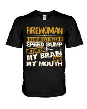 FIREWOMEN NEED A SPEED BUMP V-Neck T-Shirt thumbnail