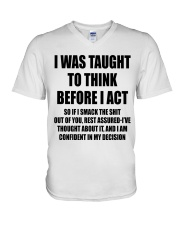 THINK BEFORE I ACT V-Neck T-Shirt thumbnail