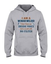 WOMAN WELDER WITH NO INSIDE VOICE Hooded Sweatshirt front