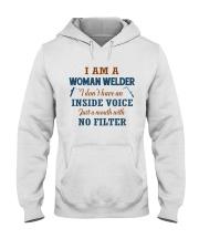 WOMAN WELDER WITH NO INSIDE VOICE Hooded Sweatshirt tile