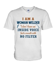 WOMAN WELDER WITH NO INSIDE VOICE V-Neck T-Shirt thumbnail