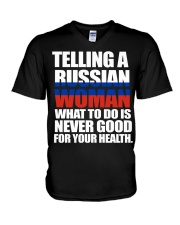 TELLING A RUSSIAN WOMAN  V-Neck T-Shirt thumbnail