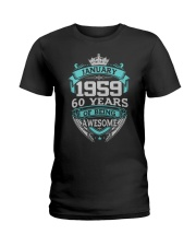HAPPY BIRTHDAY JAN 1959 Ladies T-Shirt tile