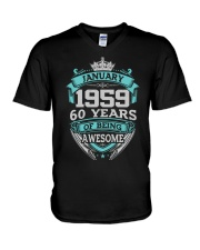 HAPPY BIRTHDAY JAN 1959 V-Neck T-Shirt thumbnail