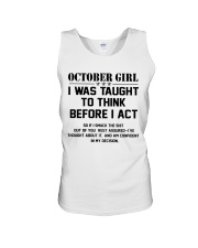 OCTOBER GIRL- Think before act Unisex Tank thumbnail