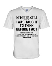 OCTOBER GIRL- Think before act V-Neck T-Shirt tile