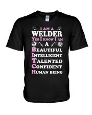 WELDERS HUMAN BEING V-Neck T-Shirt thumbnail