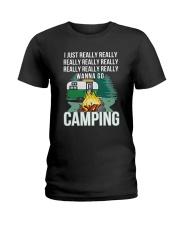 REALLY WANNA GO CAMPING Ladies T-Shirt thumbnail