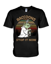 STOP IT NOW RACCOONS V-Neck T-Shirt thumbnail