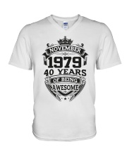 HAPPY BIRTHDAY NOVEMBER 1979 V-Neck T-Shirt tile