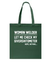 WELDER WOMAN GIVEASHITOMETER Tote Bag thumbnail