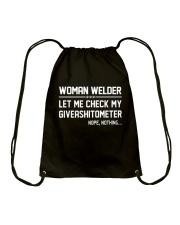 WELDER WOMAN GIVEASHITOMETER Drawstring Bag thumbnail