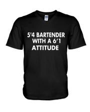 5'4 BARTENDER V-Neck T-Shirt thumbnail