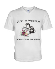 JUST  A WOMAN WHO LOVES TO WELD V-Neck T-Shirt thumbnail