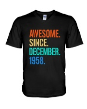 AWESOME SINCE DECEMBER 1958 V-Neck T-Shirt thumbnail