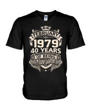 BIRTHDAY FEB 1979 V-Neck T-Shirt thumbnail