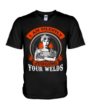 I AM SILENTLY JUDGING YOUR WELDS V-Neck T-Shirt thumbnail