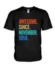 AWESOME SINCE NOVEMBER 1958 V-Neck T-Shirt thumbnail