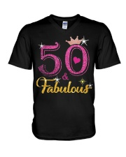 HAPPY BIRTHDAY 50 AND FABULOUS V-Neck T-Shirt tile