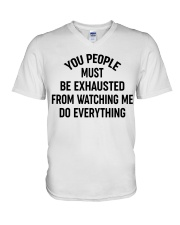 PEOPLE WATCHING ME DO EVERYTHING V-Neck T-Shirt thumbnail