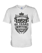HAPPY BIRTHDAY SEPTEMBER 1959 V-Neck T-Shirt thumbnail