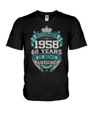 HAPPY BIRTHDAY NOVEMBER 1958 V-Neck T-Shirt thumbnail