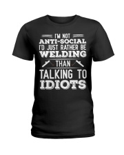 DON'T TALK TO IDIOTS Ladies T-Shirt thumbnail