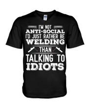 DON'T TALK TO IDIOTS V-Neck T-Shirt thumbnail