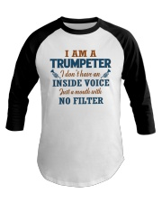 A TRUMPETER WITH NO INSIDE VOICE Baseball Tee front