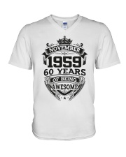 HAPPY BIRTHDAY NOVEMBER 1959 V-Neck T-Shirt thumbnail
