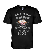 COFFEE IS STRONGER THAN KIDS V-Neck T-Shirt thumbnail