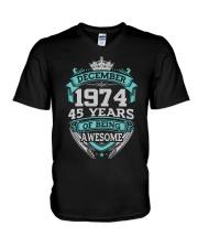 Birthday Gift December 1974 V-Neck T-Shirt thumbnail