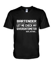 BARTENDER GIVEASHITOMETER V-Neck T-Shirt thumbnail