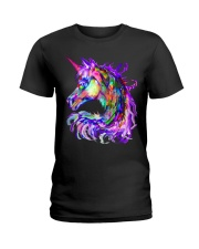 Colorful Rainbow Cute Unicorn Shirt Ladies T-Shirt thumbnail