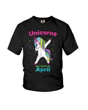 Dabbing Unicorn April Birthday T Shirt For Girls A Youth T-Shirt front